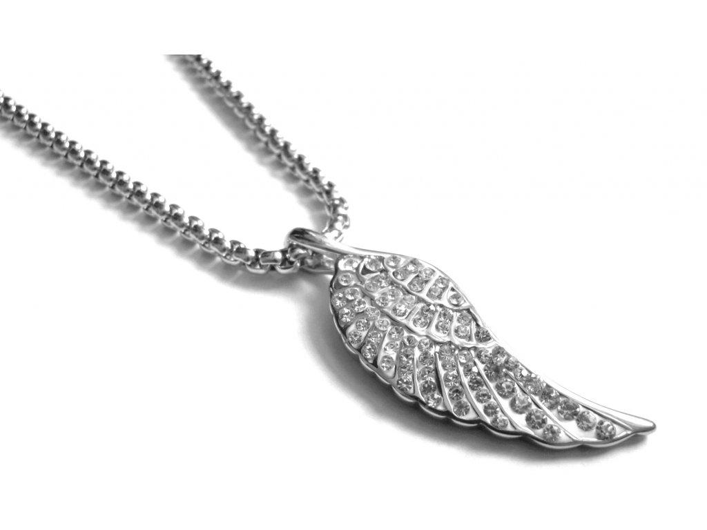 řetízek a přívěsek - chirurgická ocel - andělské křídlo - 090448