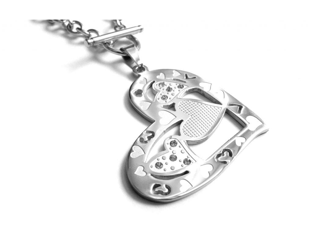 náhrdelník - chirurgická ocel - velké srdce - dámský - 130212