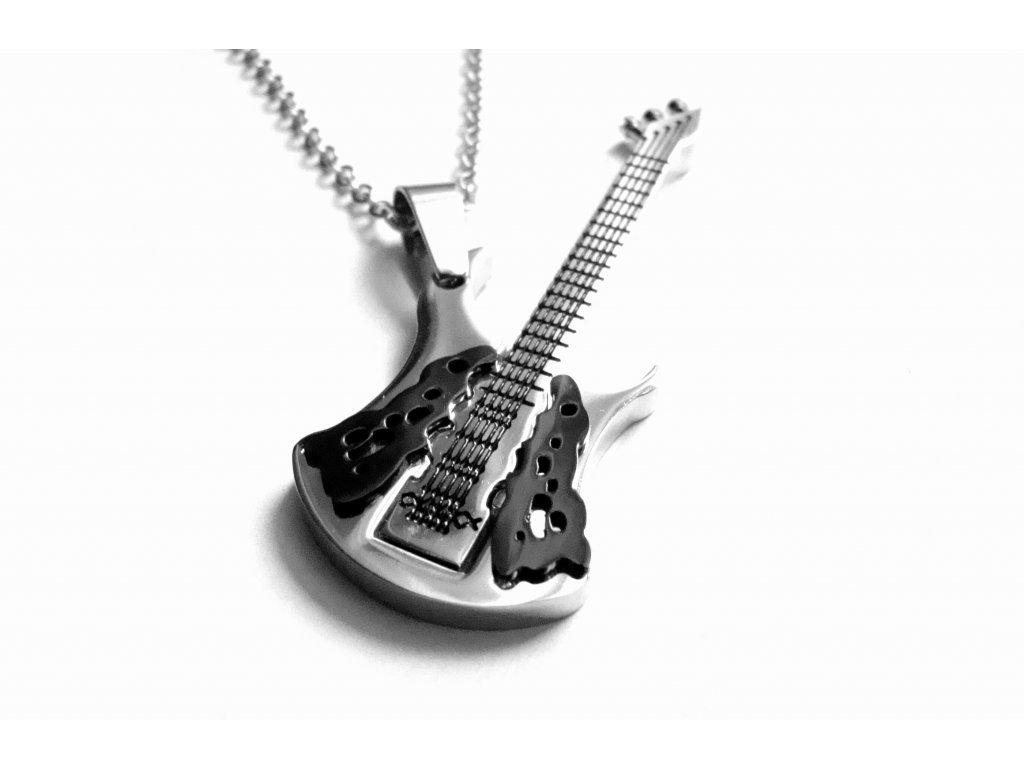 řetízek s přívěskem - chirurgická ocel - kytara - 140106