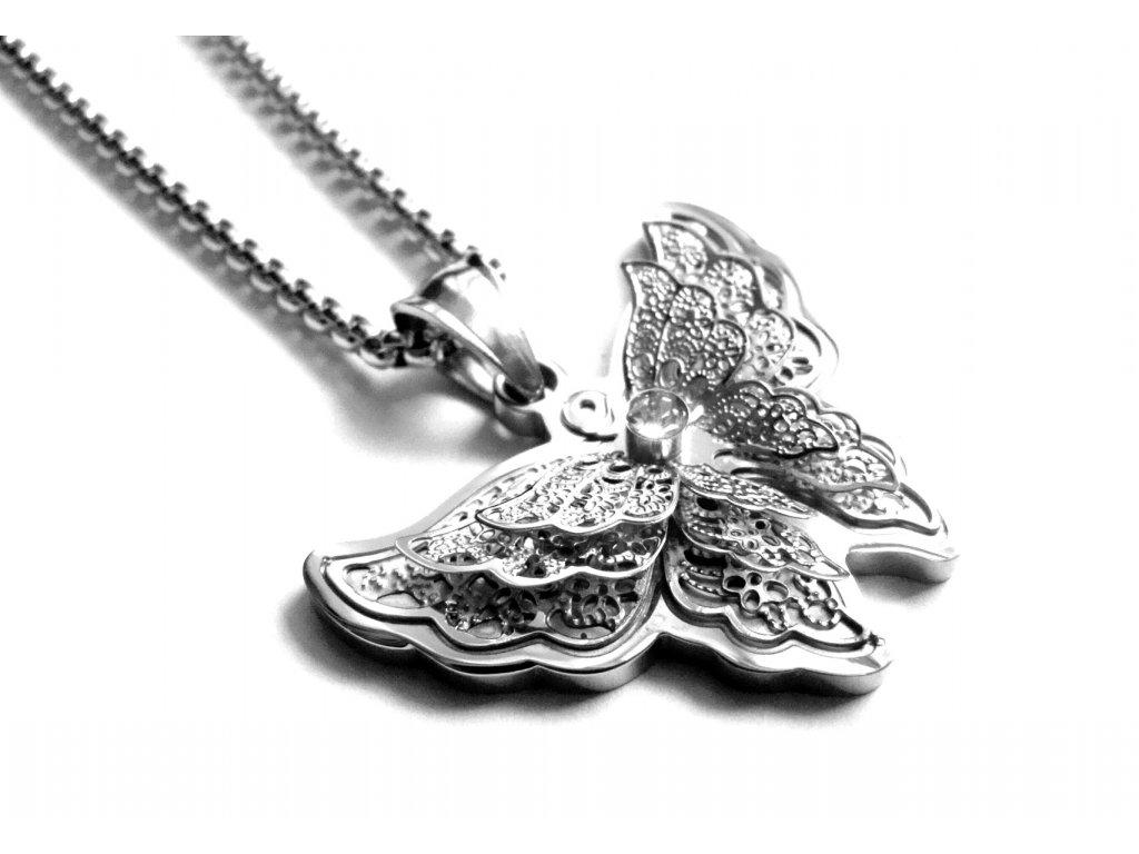 řetízek a přívěsek - chirurgická ocel - motýl - dámský - 140110