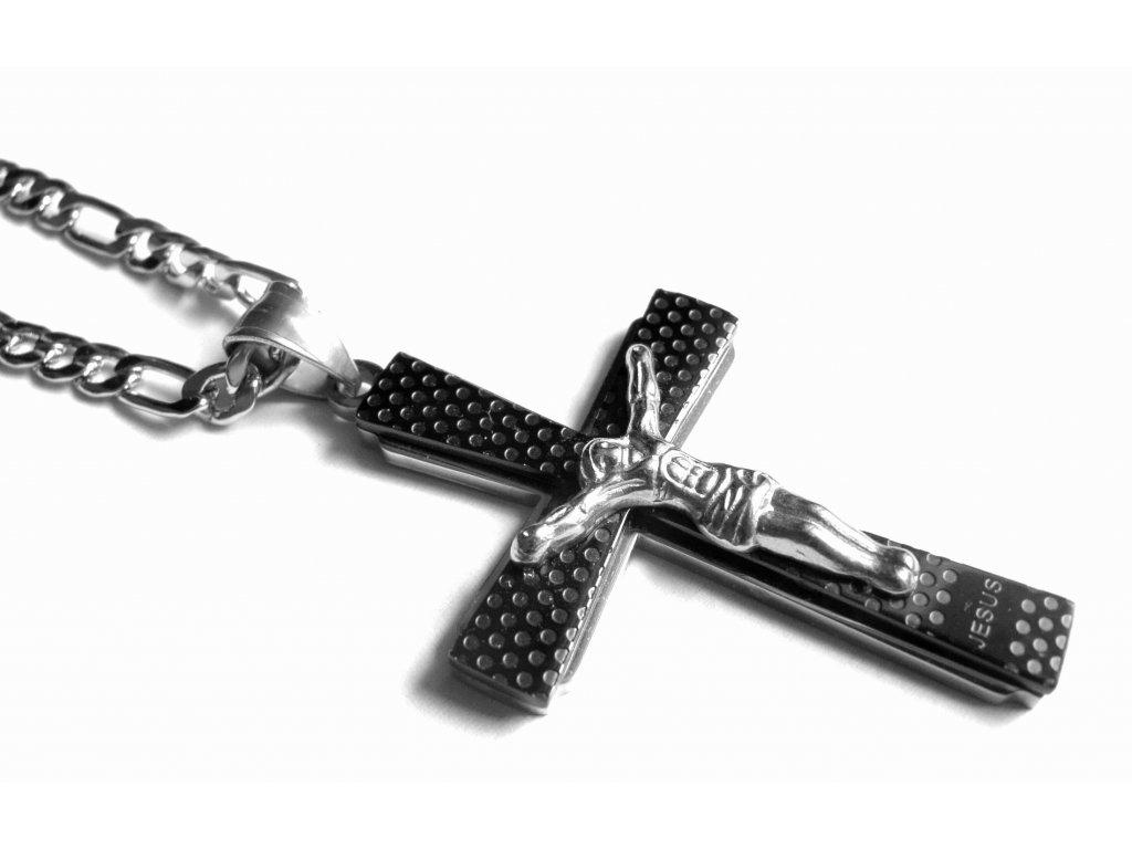 řetízek s přívěskem - kříž - chirurgická ocel - 140118
