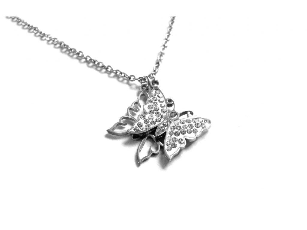 řetízek, náhrdelník - chirurgická ocel - dámský - motýl - 140131