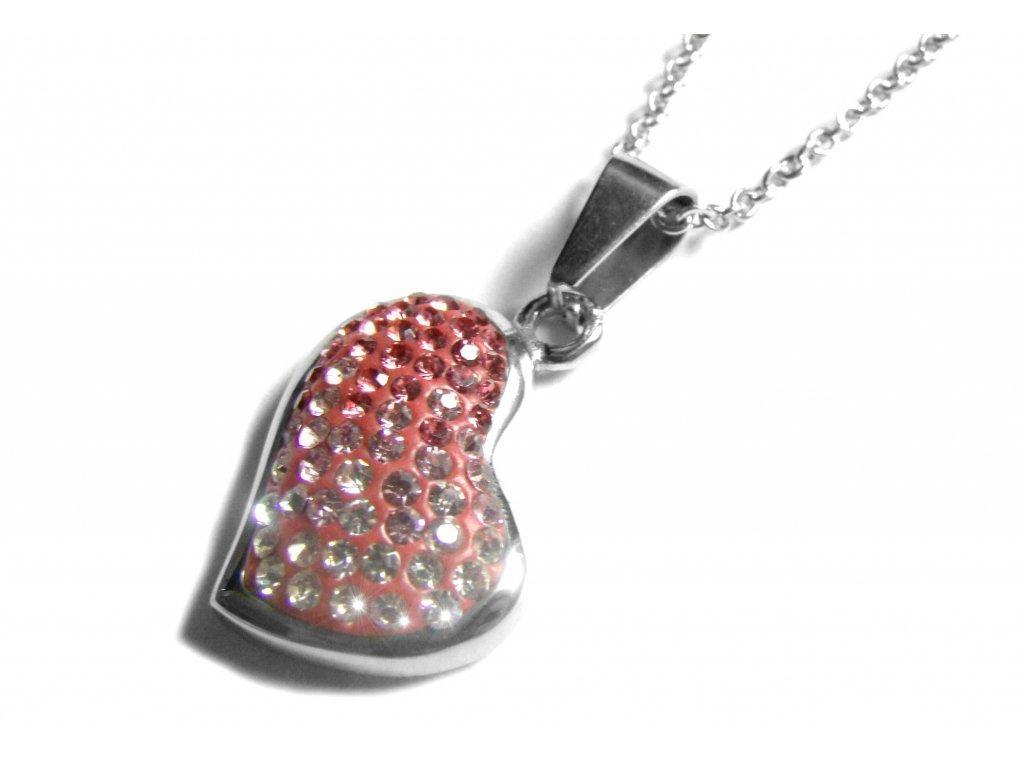 řetízek s přívěskem - srdce s krystalky - 140931