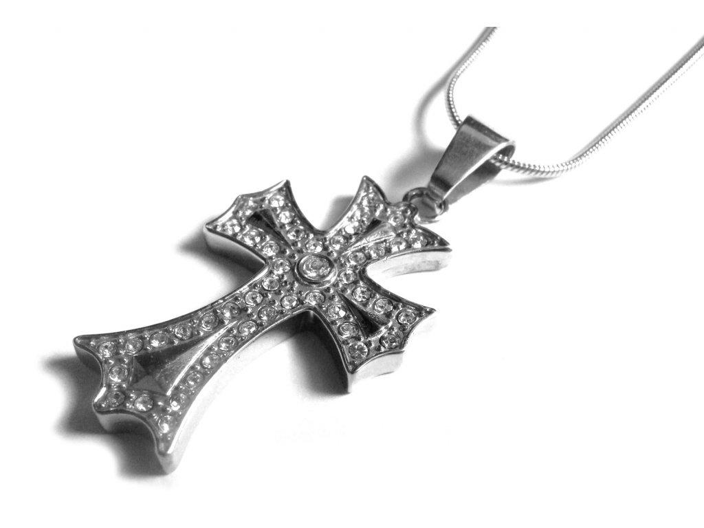 řetízek s přívěskem -  kříž - chirurgická ocel - 140935