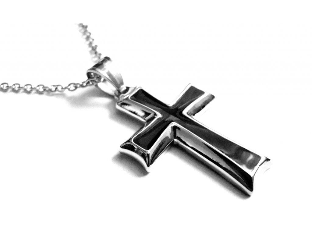 řetízek a přívěsek - chirurgická ocel - kříž - 141012