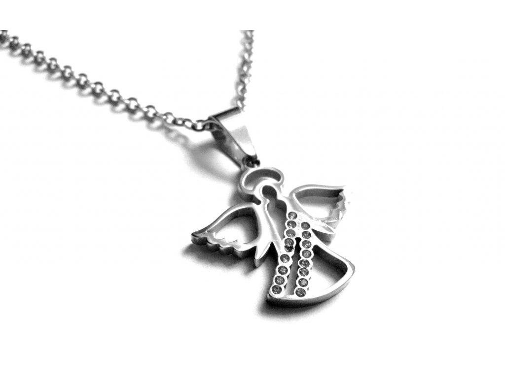 řetízek s přívěskem - chirurgická ocel - anděl - 141106