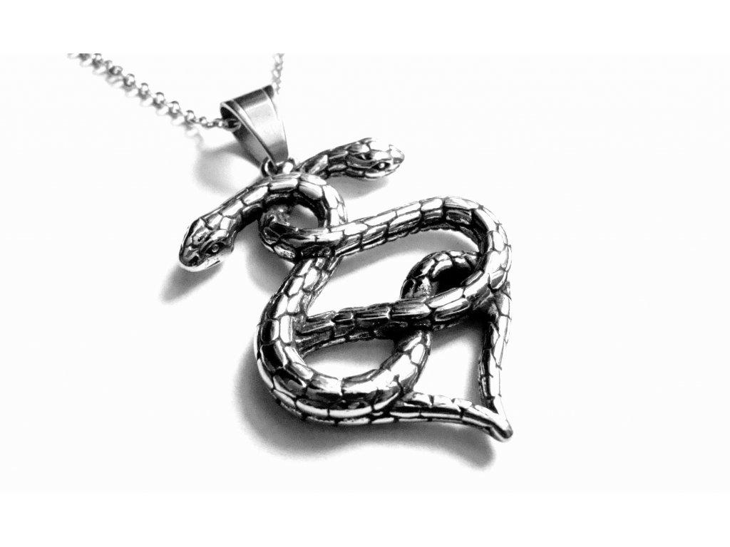 řetízek s přívěskem - had - chirurgická ocel - 150121