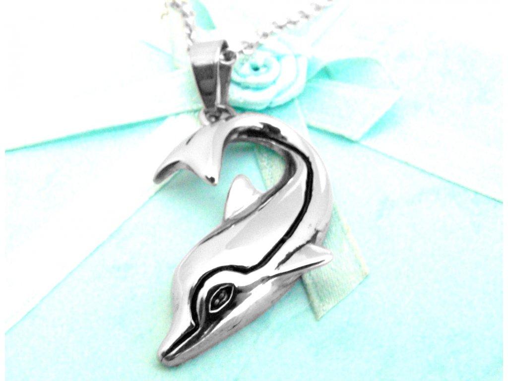 řetízek s přívěskem - delfín - chirurgická ocel - 150122