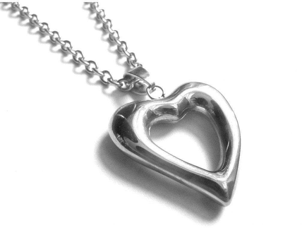 řetízek s přívěskem - chirurgická ocel - srdce - 150133