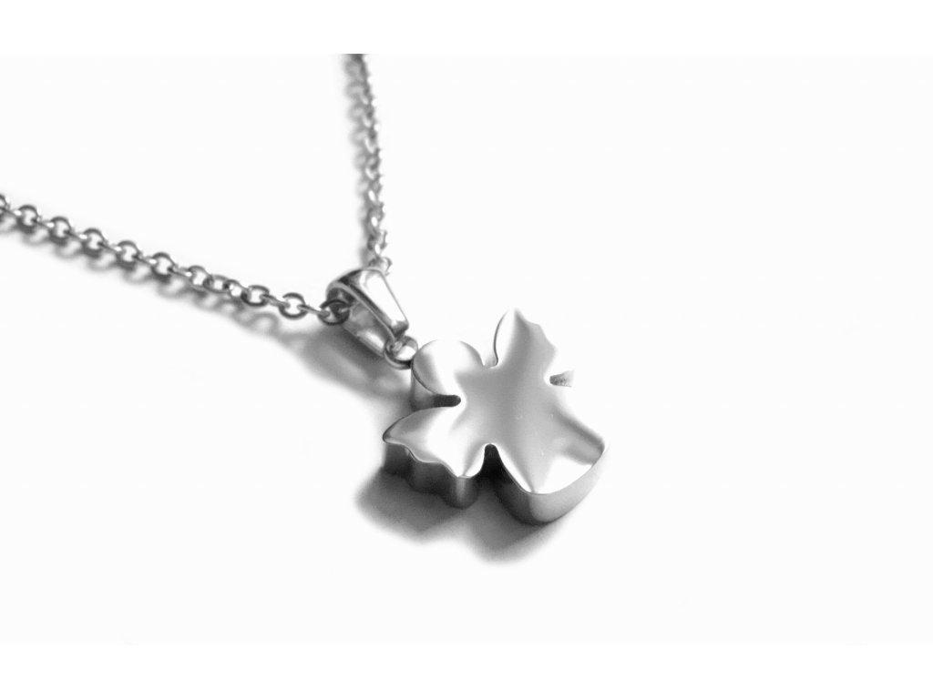 řetízek s přívěskem (náhrdelník) - chirurgická ocel - anděl - 150203