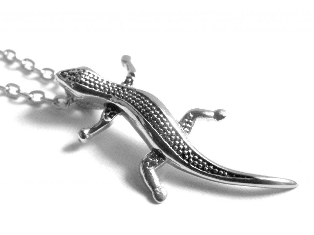 řetízek s přívěskem - ještěrka - chirurgická ocel - 150230