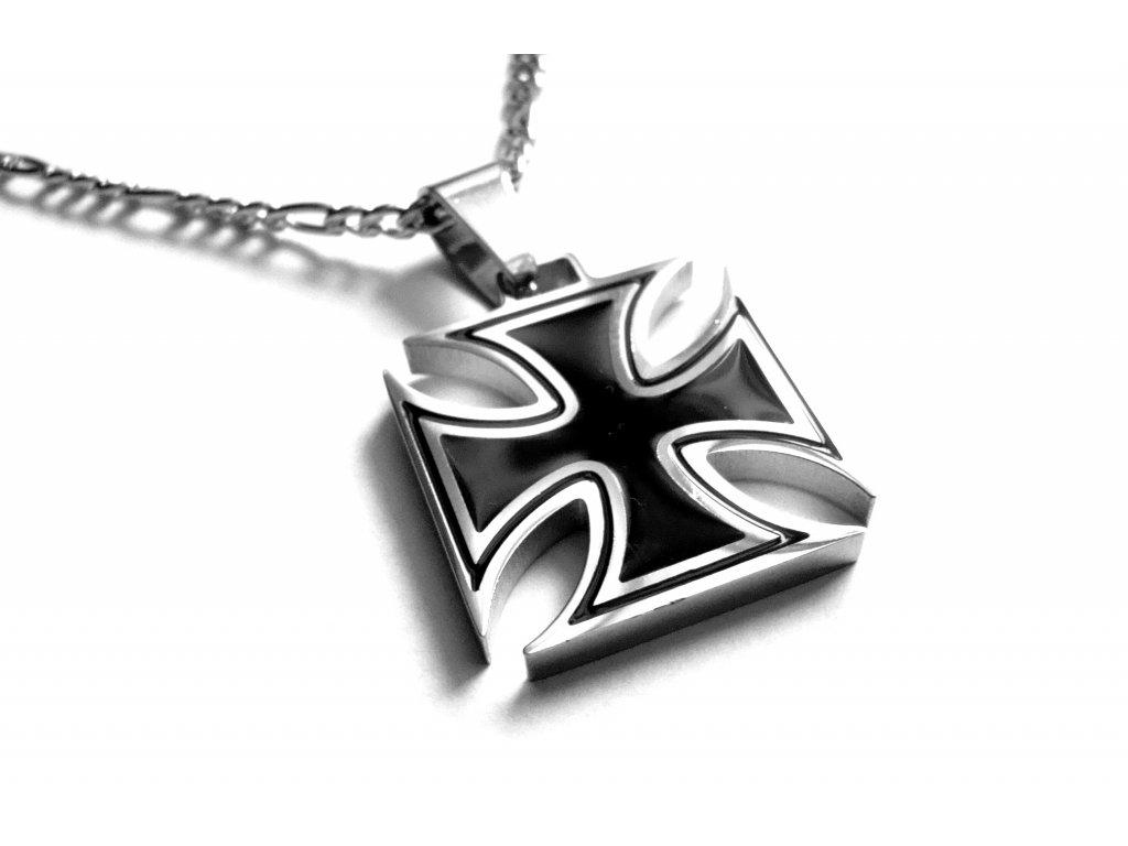 řetízek a přívěsek - maltézský kříž - motorkářský - chirurgická ocel - 150322