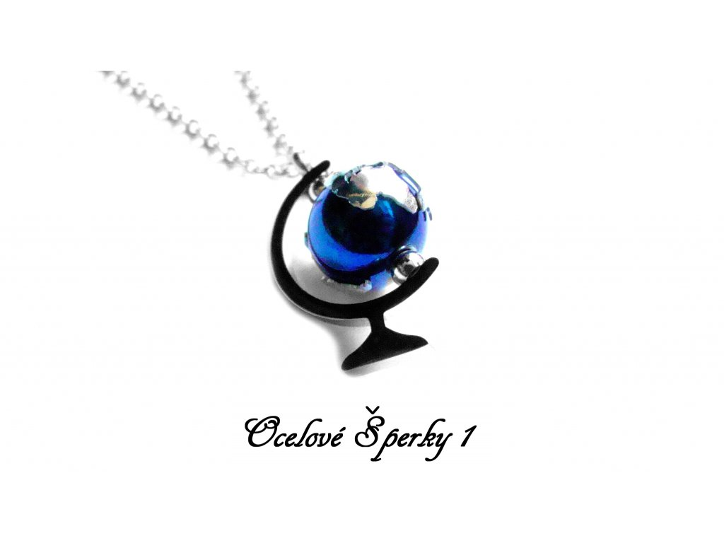 řetízek s přívěskem - chirurgická ocel - globus - 150307