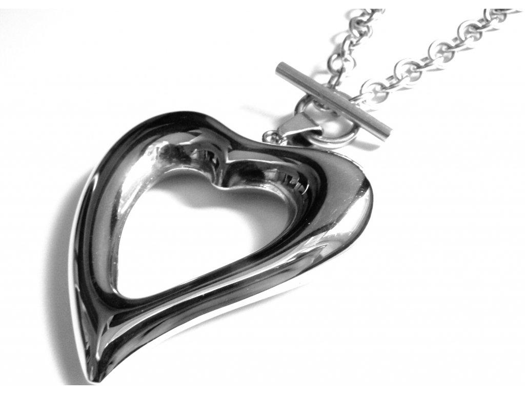 náhrdelník - chirurgická ocel - srdce - dámský - 150305