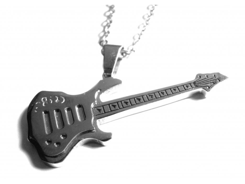 řetízek a přívěsek - kytara - chirurgická ocel - 150330