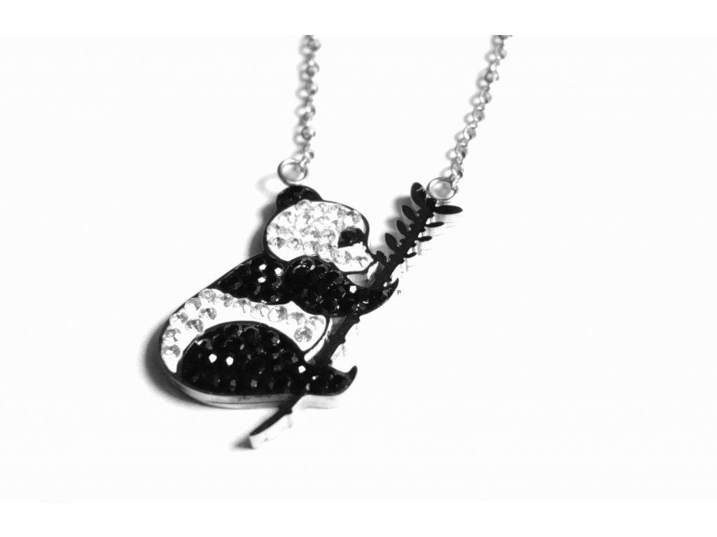 řetízek, náhrdelník - chirurgická ocel - panda - 150411