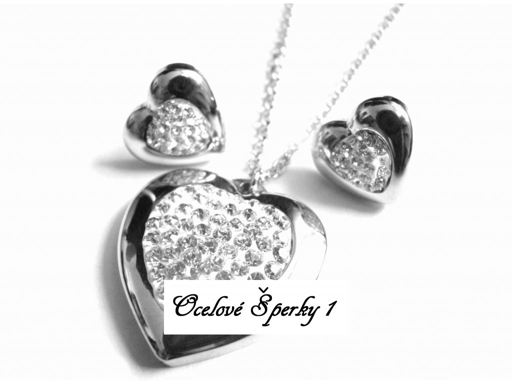 souprava - náhrdelník a náušnice - chirurgická ocel - srdce - 151105