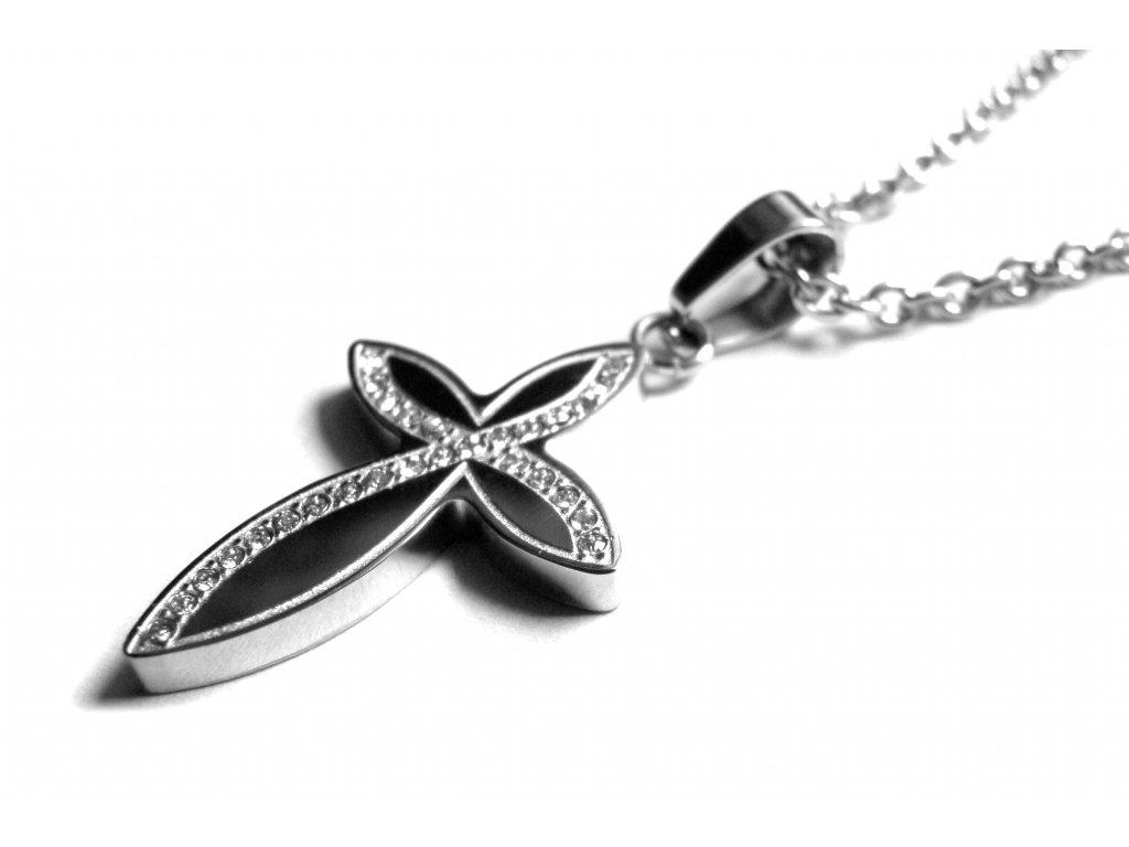 řetízek s přívěskem - chirurgická ocel - křížek - 151026