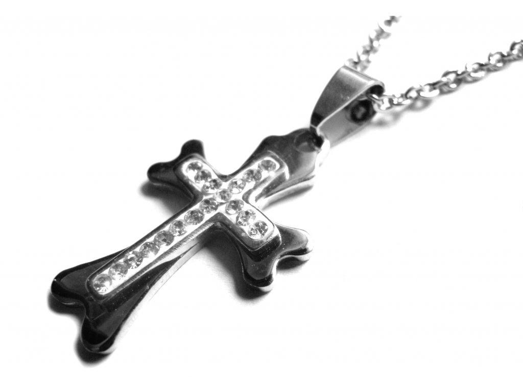 řetízek s přívěskem - chirurgická ocel - křížek - 151024