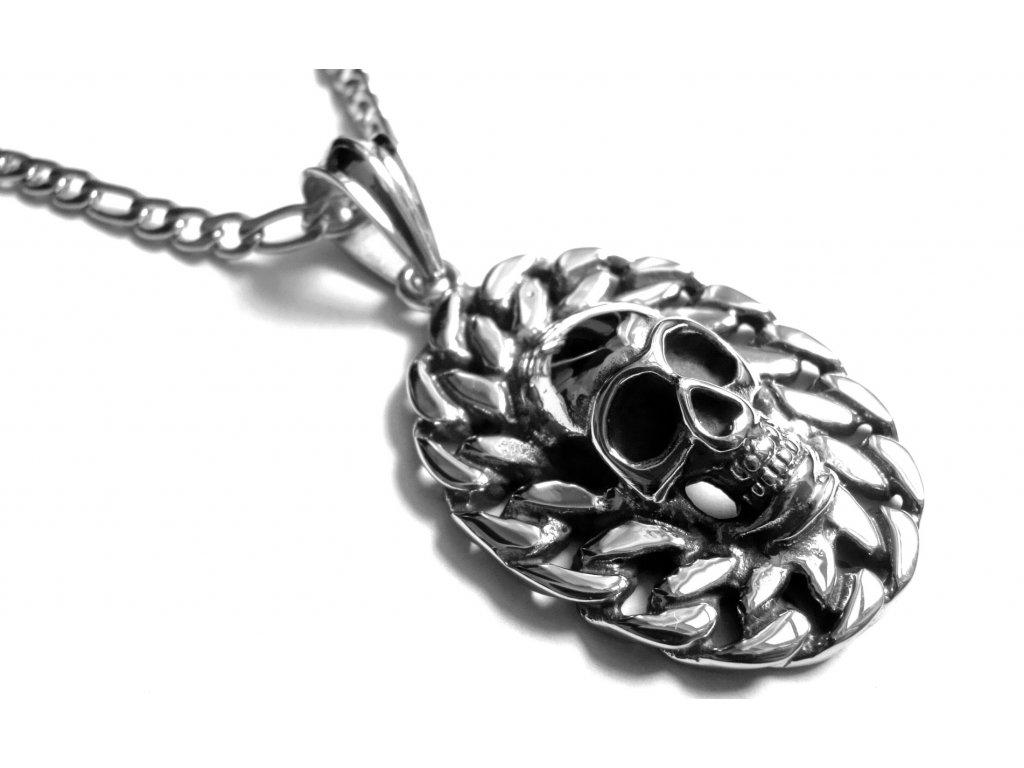 řetízek s přívěskem - chirurgická ocel - lebka - 151013