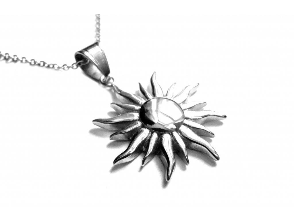 řetízek a přívěsek - chirurgická ocel - slunce - 151107