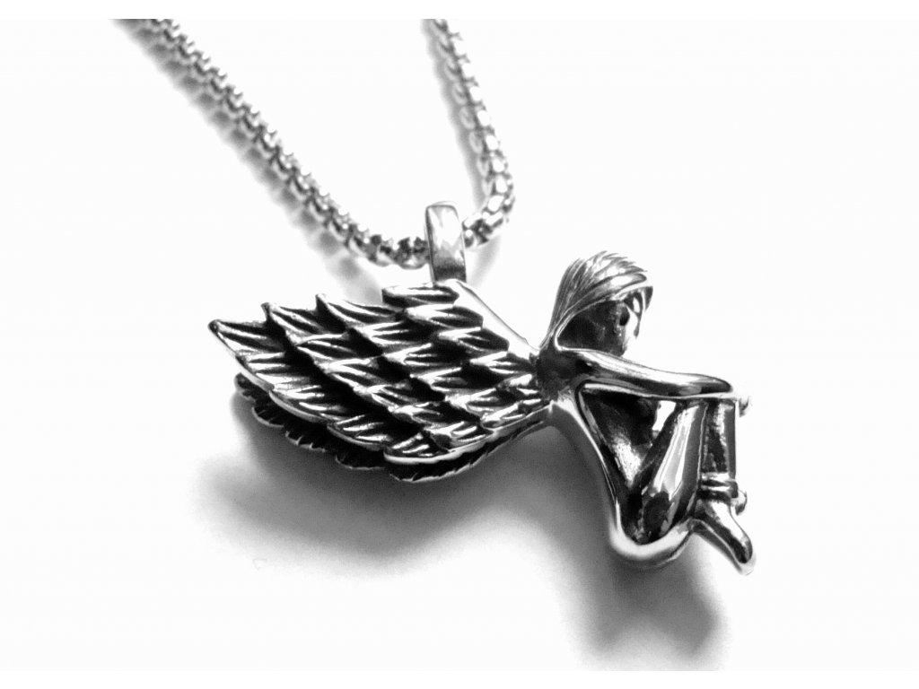 řetízek a přívěsek - chirurgická ocel - anděl - 151027