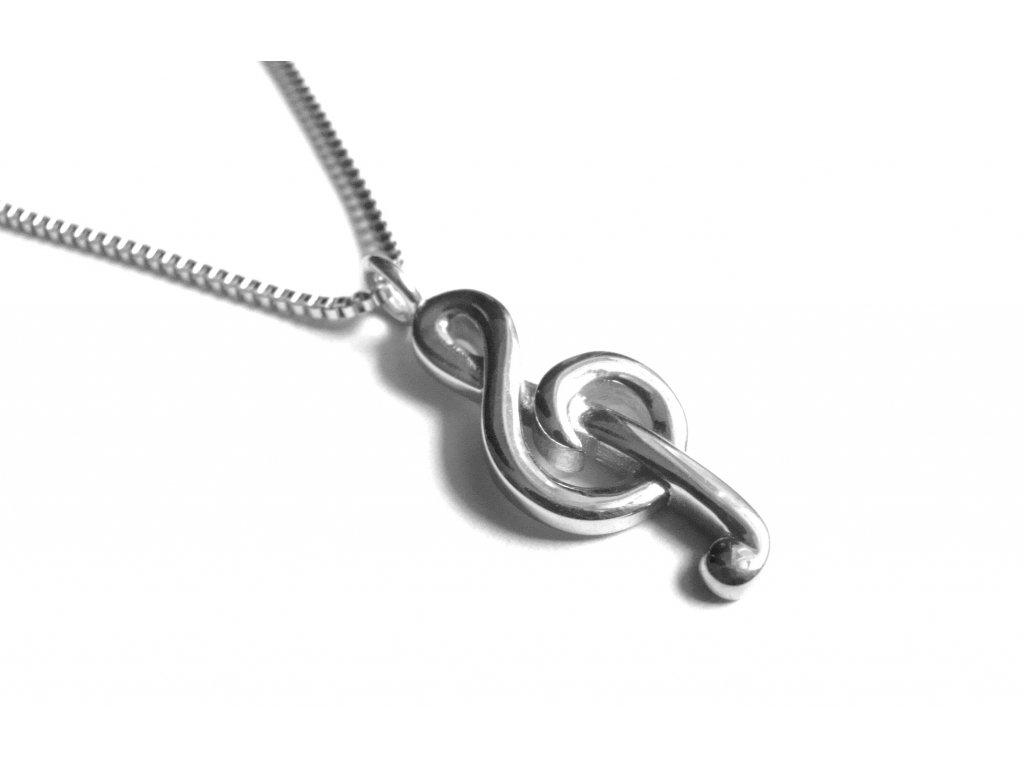 řetízek a přívěsek - chirurgická ocel - houslový klíč - 151117