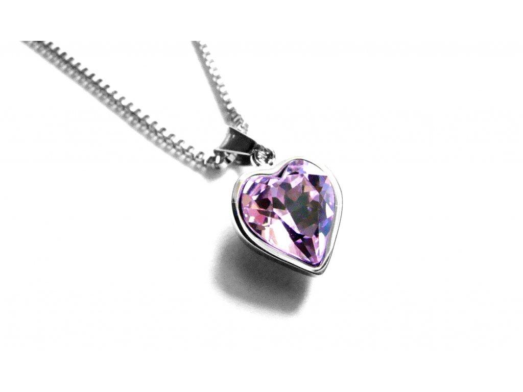 řetízek s přívěskem - chirurgická ocel - srdce - růžové - 151113