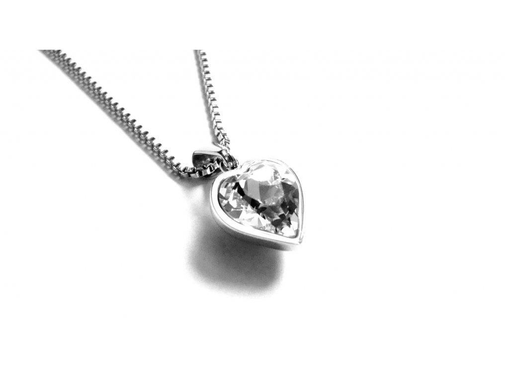řetízek s přívěskem - chirurgická ocel - srdce - bílé - 151115