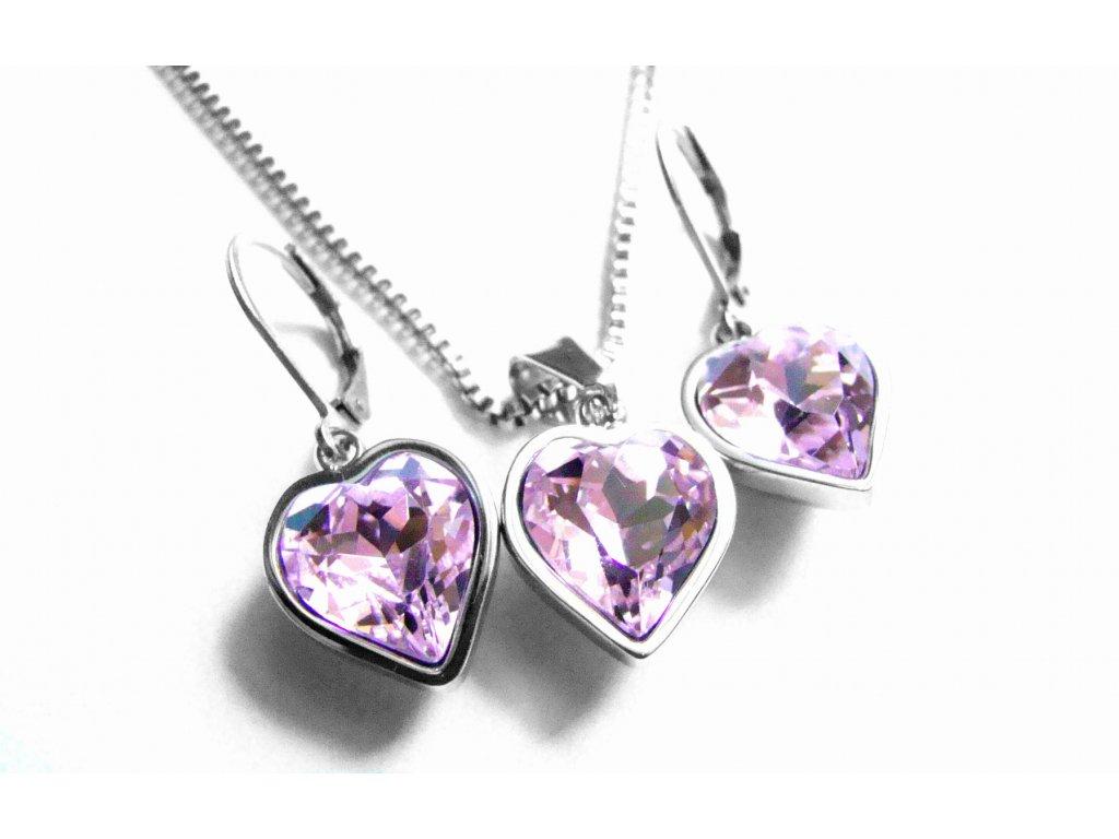 souprava - náhrdelník a náušnice - chirurgická ocel - srdce - růžové - 151114