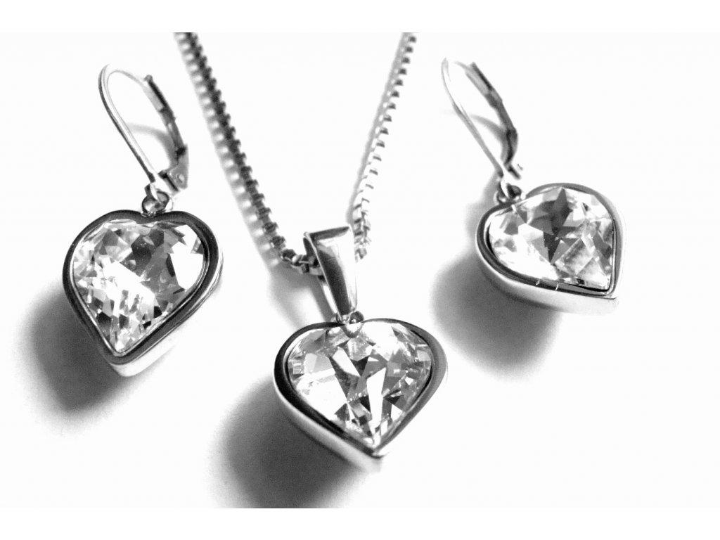 souprava - náhrdelník a náušnice - chirurgická ocel - srdce - bílé - 151116