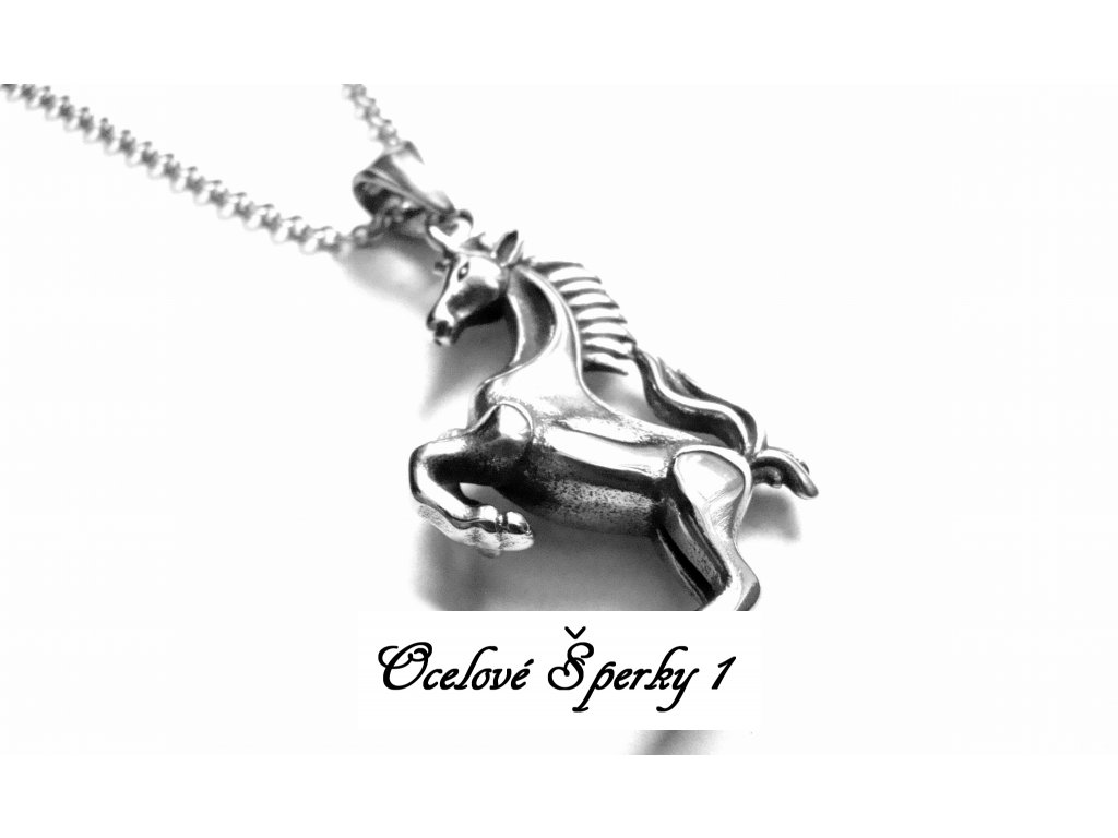 řetízek s přívěskem - chirurgická ocel - kůň - 160105