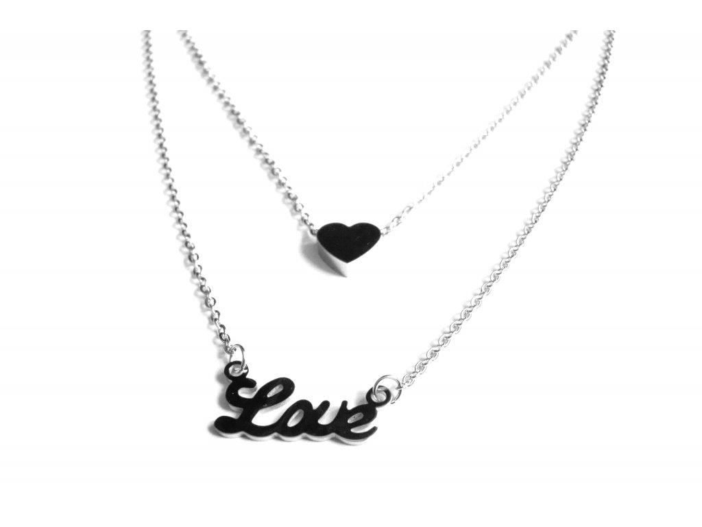 řetízek, náhrdelník - jemný - love - chirurgická ocel - 180309