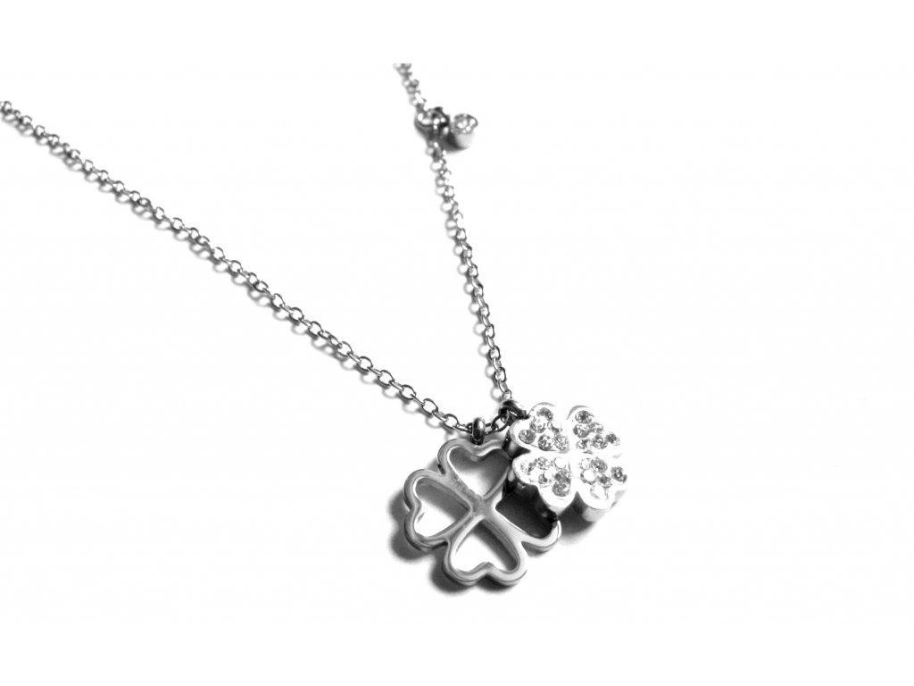 řetízek, náhrdelník - chirurgická ocel - čtyřlístek - jemný - 171012