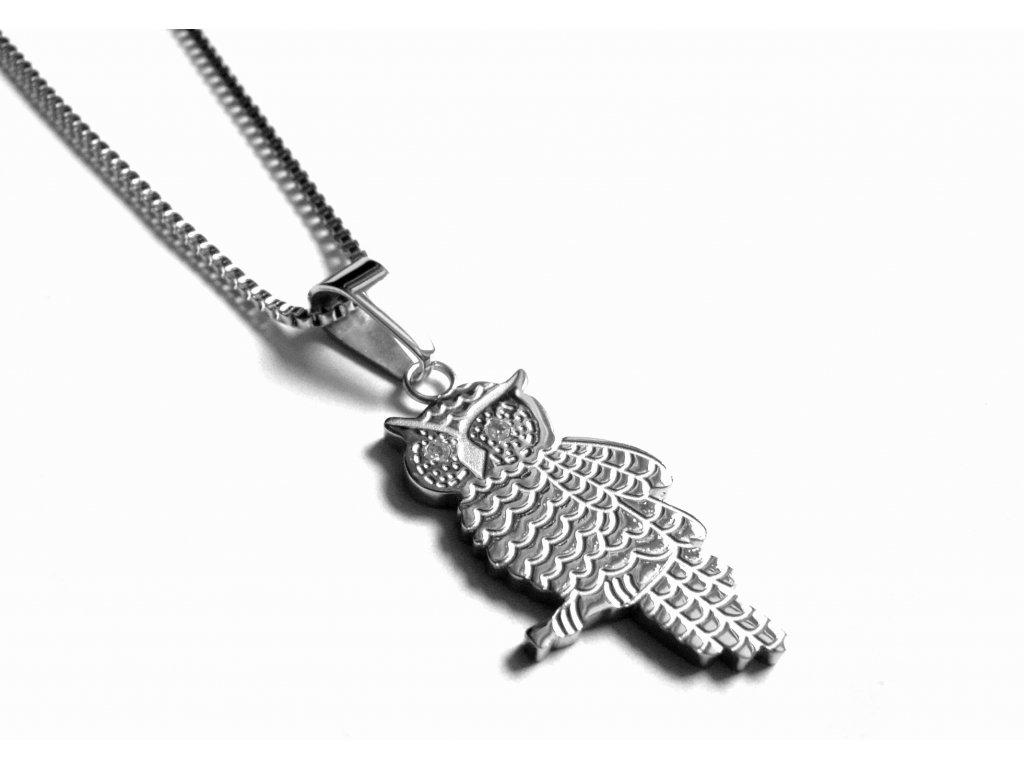 řetízek, náhrdelník - chirugická ocel - sova - 171011