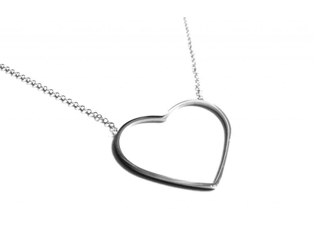 řetízek, náhrdelník - chirurgická ocel - srdce - 171023