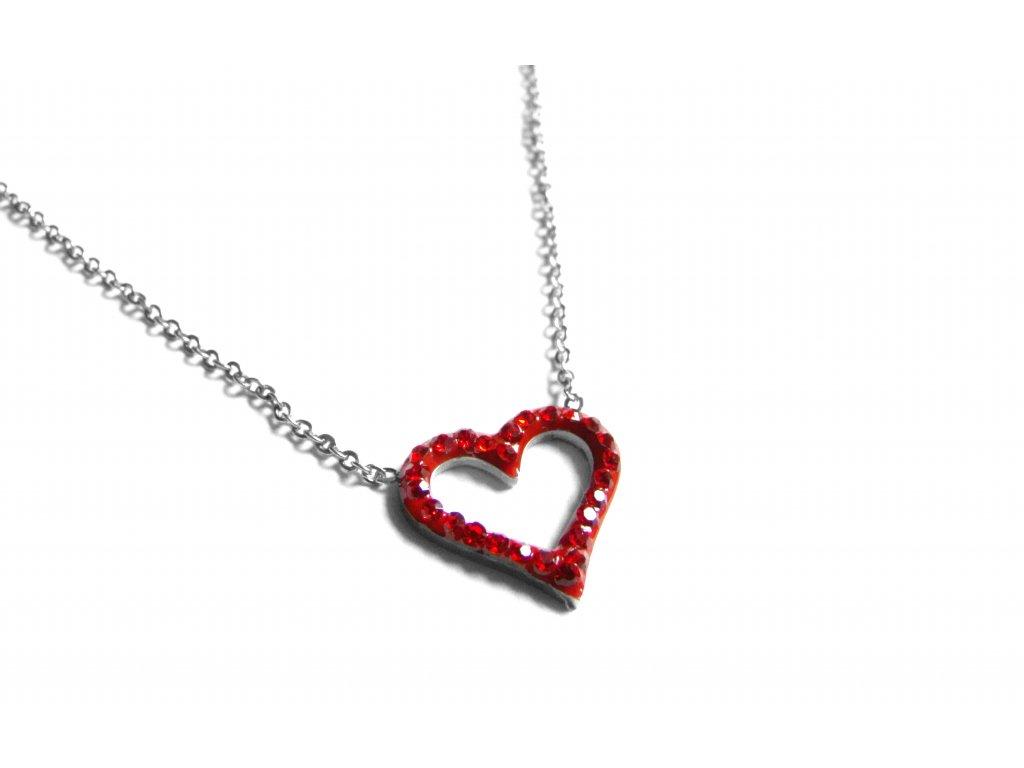 řetízek, náhrdelník - jemný - chirurgická ocel - srdce - 171024