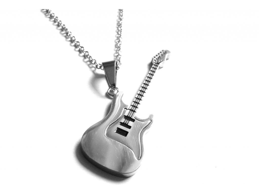řetízek s přívěskem - chirurgická ocel - kytara - 171016