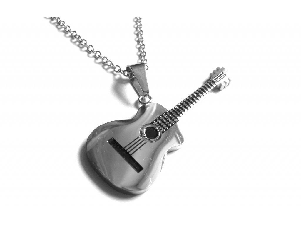 řetízek s přívěskem - chirurgická ocel - kytara - 171019