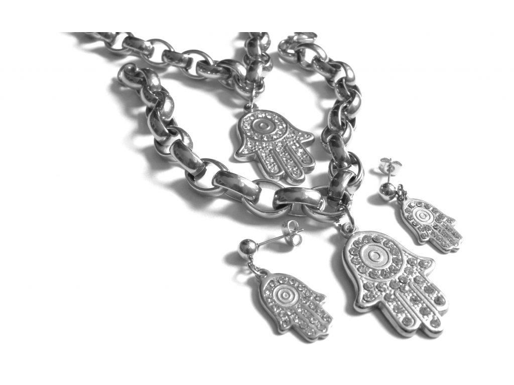 souprava - náhrdelník, náramek a náušnice - chirurgická ocel - 130163