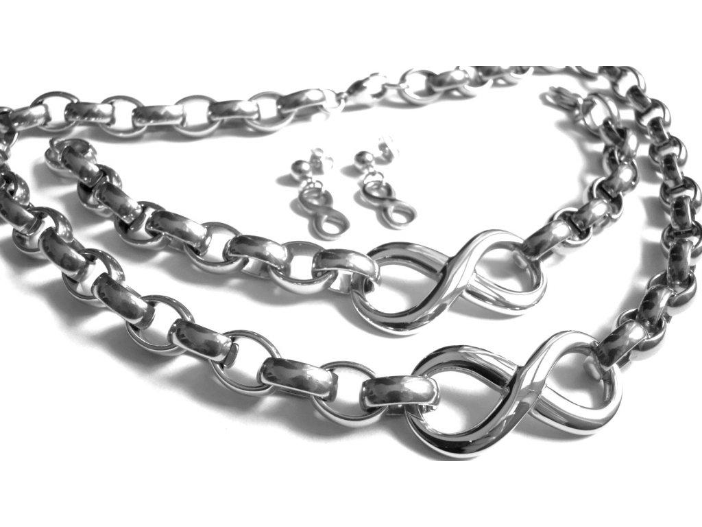 souprava - náhrdelník, náramek a náušnice - chirurgická ocel - 130199