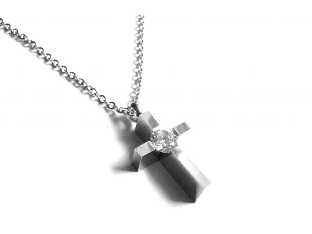 řetízek s přívěskem - chirurgická ocel - kříž - 090474