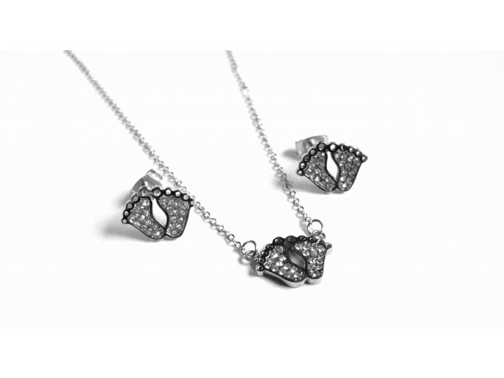souprava - náhrdelník a náušnice - chirurgická ocel - 090247