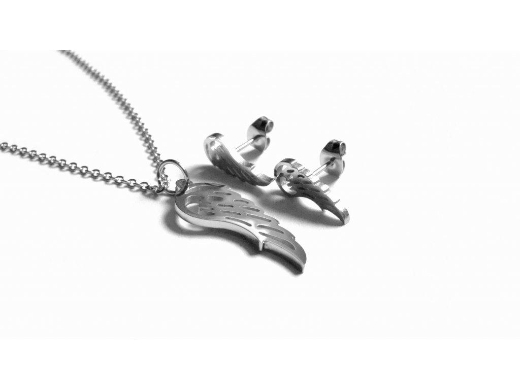 souprava - řetízek, přívěsek a náušnice - andělská křídla - chirurgická ocel - 130140