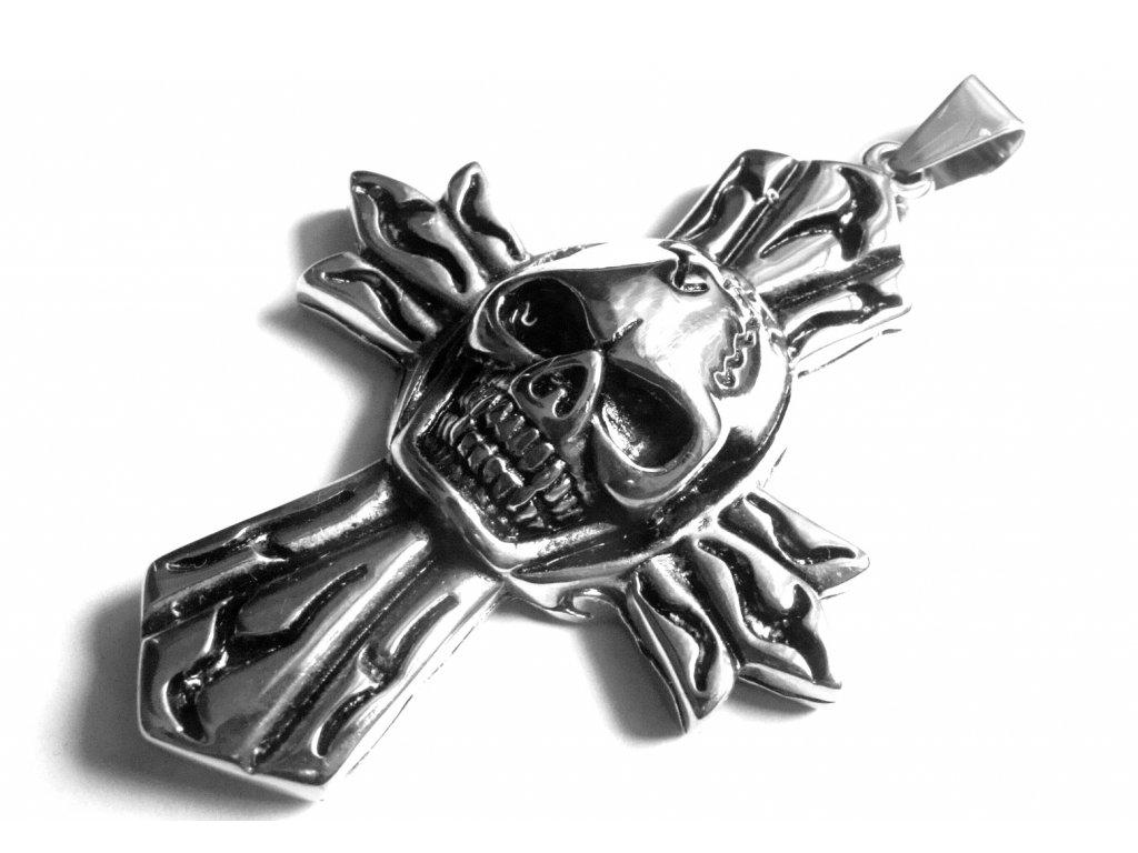 přívěsek - velký motorkářský kříž s lebkou - chirurgická ocel - 130162
