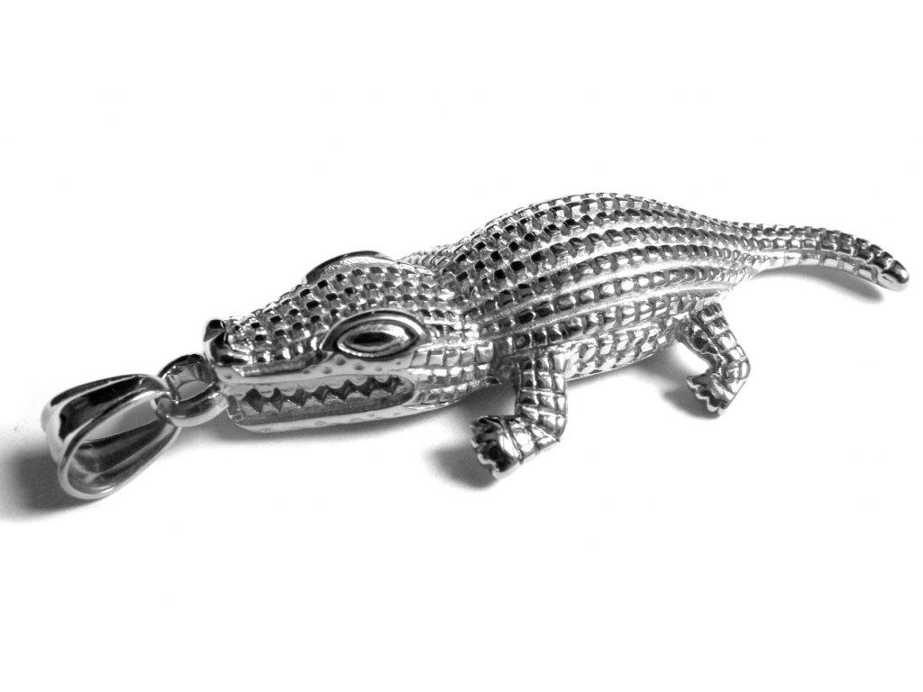 přívěsek - chirurgická ocel - krokodýl - 140939