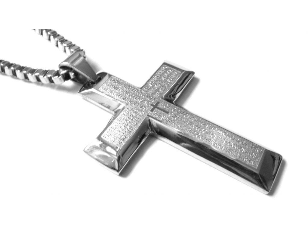 přívěsek - chirurgická ocel - kříž - 100259