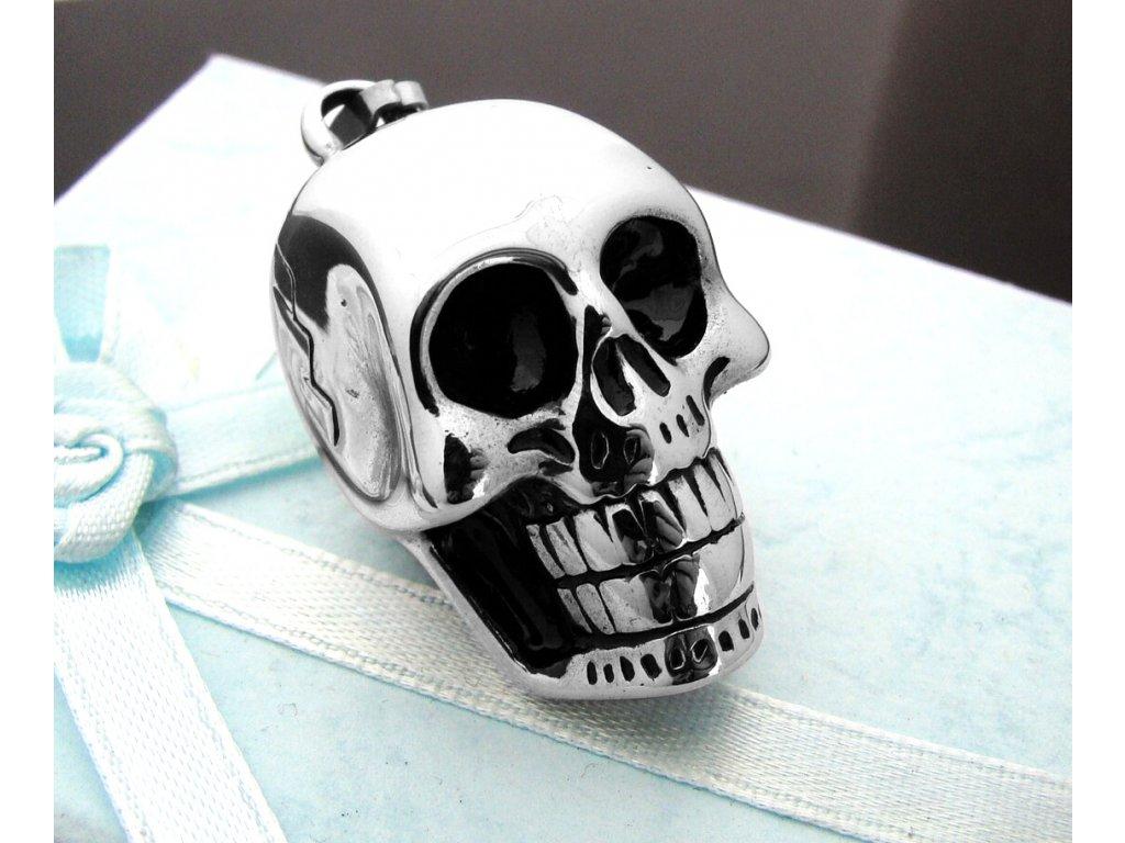 přívěsek - lebka - chirurgická ocel - 090314