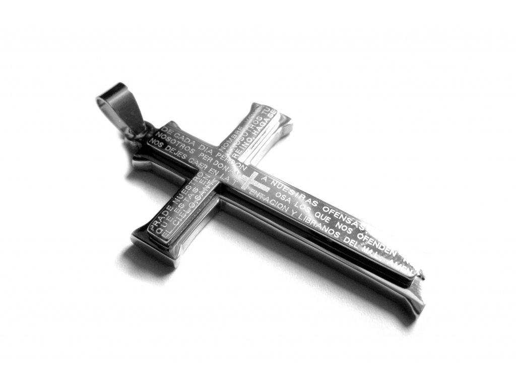 přívěsek - chirurgická ocel - kříž - 160312