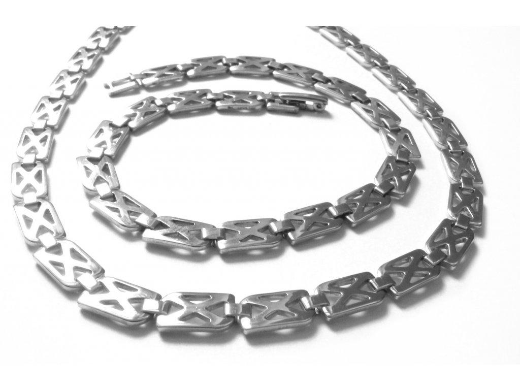 souprava - řetízek (náhrdelník) a náramek - chirurgická ocel - jemný - 140903
